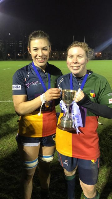 McMillan sisters Louise and Siobhan with the BT Women's Premier League trophy